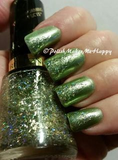 "Does anyone love a nice green?? I DO, I DO!! Tried this pretty Revlon polish, #565 ""Wild"" last night... added a nice greenish gold bar-glitter, also from Revlon #735 ""Golden Confetti""... the two compliment each other perfectly!!! So much more holo than pictures show and we have no sun today to try for better pictures... (one picture blurred to show that great holo effect!)"