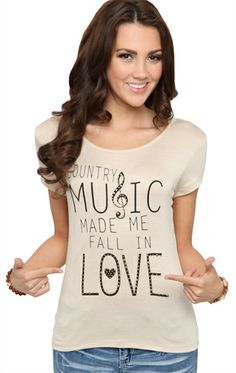 Deb Shops Tee with #Country #Music Screen and Bronze Stones