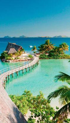 A little beach getaway anyone? Likuliku Lagoon Resort, Malolo Island, Fiji looks like the perfect spot!