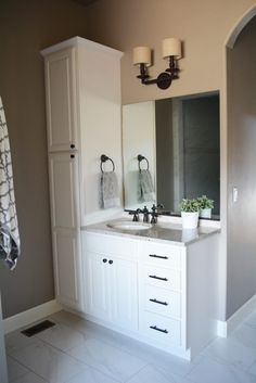 Bathroom Vanity With Attached Linen Cabinet *yes this would fit my bathroom idea! Bathroom Vanity With Attached Linen Cabinet *yes this would fit my bathroom idea! Bathroom Vanity Designs, Small Bathroom Vanities, Bathroom Toilets, Bathroom Renos, Basement Bathroom, Bathroom Flooring, Bathroom Renovations, Master Bathroom, Bathroom Ideas