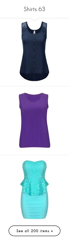 """""""Shirts 63"""" by xx-black-blade-xx ❤ liked on Polyvore featuring tops, cami tank, blue tank, camisole tank top, blue cami top, camisole tops, purple tank top, plus size sleeveless tops, plus size womens tank tops and sleeveless tank tops"""