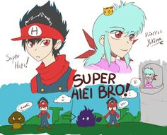 Yu Yu Hakusho cross Mario Super Hiei Bro & Princess Yukina :D cute Yu Yu Hakusho Anime, Bro, Family Guy, Fan Art, Princess, Cute, Fictional Characters, Cartoons, Hiei