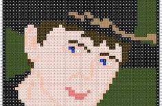Carl from The Waking Dead,pattern by F. The Walking Dead, Walking Dead Zombies, Perler Patterns, Bead Patterns, Lego Mosaic, Plastic Canvas Patterns, Cross Stitching, Pixel Art, Cross Stitch Patterns