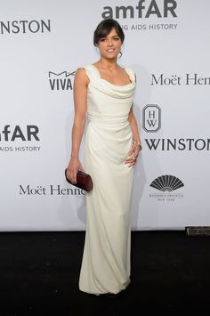 Michelle Rodriguez chose to wear our White Silk Crepe Ball Tie Dress to the 2015 amfAR New York Gala last night.