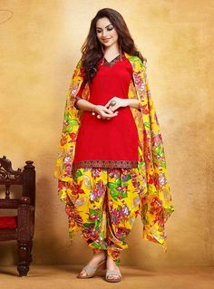 Buy Red Cotton Patiala Suit 85936 online at lowest price from huge collection of salwar kameez at Indianclothstore.com.