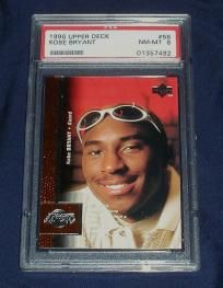 This is Kobe Bryant's 1996 rooie card from Upper Deck! Card is #8 and graded NM-Mint by PSA! Will Kobe and the Lakers win another NBA Championship this year? This is a great gift item too!