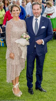 Princess Madeleine and her husband at celebrations for her sister Victoria's 40th birthday in July