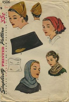 Vintage Hat Sewing Pattern | Simplicity 4506 | Year 1953 | One Size | Hat, Hood and Clutch Handbag