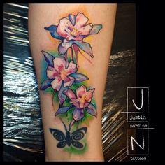 Columbine tattoo for foolishness Columbine Tattoo, Columbine Flower, Nature Tattoos, Body Art Tattoos, Cool Tattoos, Tatoos, Colorado Tattoo, Body Art Photography, Tattoo Addiction