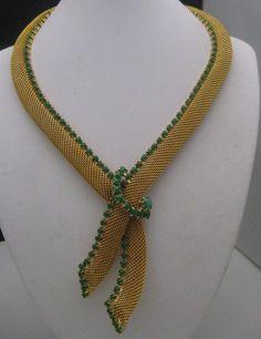 Golden Mesh Peking Glass Necklace 1960