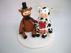 Bull and Cow  Wedding Topper by Amysclaycritters on Etsy, $65.00