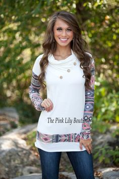 The Pink Lily Boutique - The Way It Should Be Aztec Sleeve Sweater White , $39.00 (http://thepinklilyboutique.com/the-way-it-should-be-aztec-sleeve-sweater-white/)