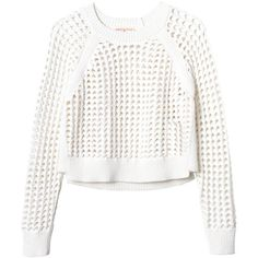 Rebecca Taylor Long Sleeve Open Lattice Sweater ($140) ❤ liked on Polyvore featuring tops, sweaters, shirts, jumpers, white, white crop top, white shirt, crop top, cropped sweater and white long sleeve sweater