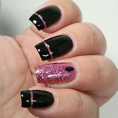 #pinkforleelah manicure using Parrot Polish Pink Glitz glitter
