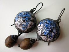 You Promised Me Poems -primitive industrial soldered vintage white blue willow tin hollow bauble, old Ukraine wood bead, black metal earring by LoveRoot
