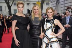 U.S actresses Kate Upton, left, Cameron Diaz and Leslie Mann, right, arrive for the UK premiere of The Other Woman at a central London cinema, London, Wednesday April 2, 2014. (Photo by Jonathan Short/Invision/AP)