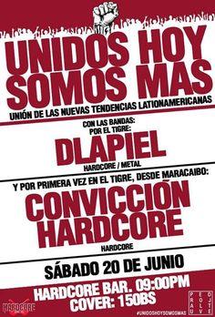 """Cresta Metálica Producciones » HardCore Bar presenta: """"Unidos Hoy Somos Más"""" (El Tigre) // 20 Junio 2015"""