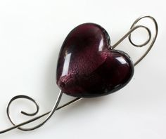 Purple Heart Shawl Pin or Scarf Pin by ShawlPinHeaven on Etsy
