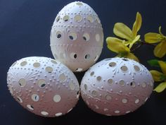 Easter Eggs, Set of 3 Traditional Slavic Carved and Wax-Embossed Chicken Eggs, Pysanky Eggs, Kraslice in White, Madeira Eggs on Etsy, $46.95