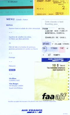 2000-06-29 June - AA-AF to Paris and Air France Menu on Canada-France Route.