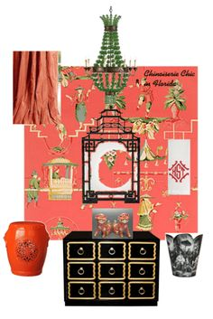 The Glam Pad: Chinoiserie Chic in Florida: The Powder Room (BB) Chinoiserie Wallpaper, Chinoiserie Chic, Chic Wallpaper, Room Wallpaper, Guest Bedroom Home Office, Bedroom Sets, Bedrooms, Tropical Bathroom, Chic Bathrooms