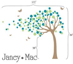 Girls Blowing Flower Tree Wall Decal with by JaneyMacWalls on Etsy, $88.00