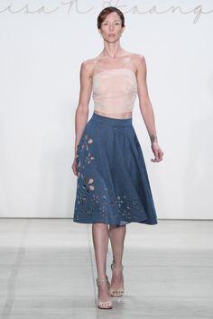 Super cut denim cut out skirt! Lisa N Hoang Spring 2017 #NYFW.