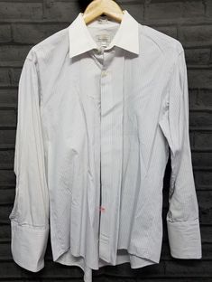 b47fcf3b Christian Dior Le Connaisseur Mens Dress Shirt 16 33 Striped grey white VTG  #ChristianDior #