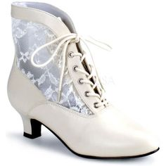 Victorian Adult Boots Ivory | Size (10)