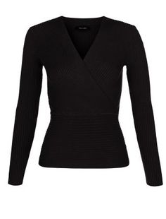 Black Ribbed Wrap Front Jumper  | New Look
