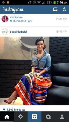 Laura Pausini's outfit: skirt by Alberta Ferreti, necklace by Shourouk, denim shirt by and shoes by Christian Louboutin * What I Would Wear * The Inner Interiorista Mexican Costume, Mexican Outfit, Mexican Dresses, Mexican Style, Boho Outfits, Casual Outfits, Cute Outfits, Fashion Outfits, Modest Fashion