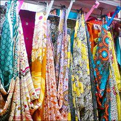 Colorful Saris as Unique Staged Fixtured Drape Saris, Pastel Colors, Kimono Top, Dressing, Colorful, Staging, Unique, Retail, Women