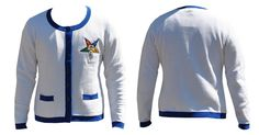 Order of the Eastern Star OES Heavy Weight Cardigan- White - Brothers and…