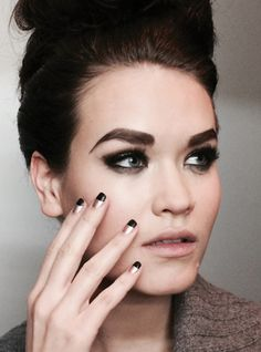 NYFW - Priti NYCmatched the bold brows and smokey eyes at Charles Warren's fall show with an equally dramatic two-tone reverse French mani inNigraandBills Bronze Orchid.   Love, love these nails!