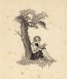 girl reading under tree painting - Google Search