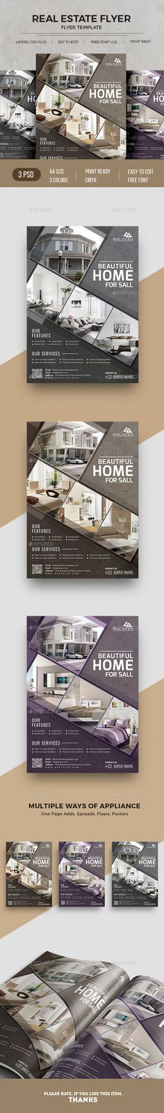 #RealEstateFlyer - Commerce Flyers A4 Paper Size With Bleed 3 Different Color Versions 300 DPI, CMYK, Print ready file Very Easy to Customize & replace the picture images & logo via Smart Object
