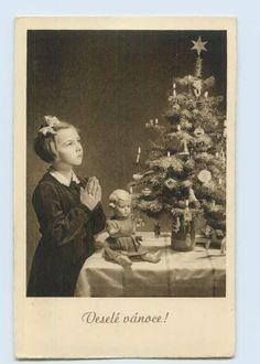 Y046/ Weihnachten Mädchen betet Puppe  Vesele vanoce! AK 1942 in Sammeln & Seltenes, Ansichtskarten, Motive, Glückwunsch, Gruß & Feste, Weihnachten | eBay