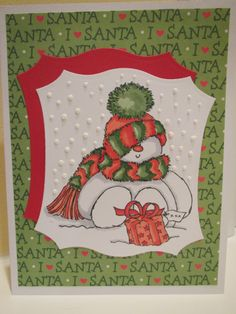 """Card using Penny Black's """"Sweet Snowman"""" stamp"""