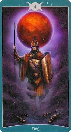 Hiểu Lá 4 of Fire - Book of Shadows Tarot (As Above) bài tarot