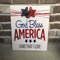"""Items similar to Wooden Rustic Sign Memorial Day /Fourth of July """"God Bless America"""" on Etsy - image 0 image 0 image 0 Welcome to our website, We hope you are satisfied with the content we offer - Americana Crafts, Patriotic Crafts, July Crafts, Summer Crafts, Holiday Crafts, Holiday Ideas, Patriotic Party, Patriotic Wreath, Holiday Fun"""