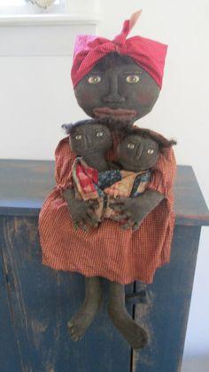 Primitive Black Doll with Babies by Bettesbabies on Etsy