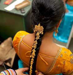beautiful braided black indian hair for a wedding, gold hair ornament