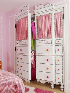 """Dress"" up any closet or room with painted 'dresser' closet doors. cute for a kids room Diy Casa, Kid Closet, Closet Ideas, Baby Girl Closet, Closet Wall, Closet Redo, Room Closet, Child's Room, Closet Space"