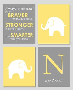 Yellow and Gray Nursery Set - Winnie the Pooh Quote, Elephant Prints and Monogram print