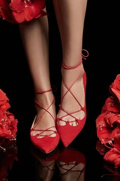Discover the Collection Carolina Herrera, Red Blush, Simply Red, Lace Up Flats, Holiday Fashion, Holiday Style, Walk This Way, Red Shoes, Fashion Boots