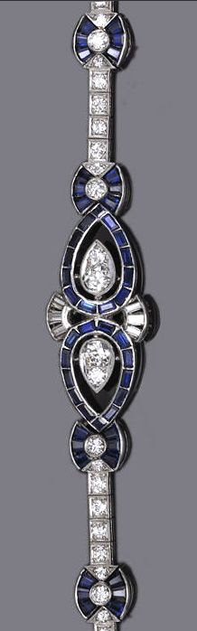 An art deco diamond and synthetic sapphire bracelet, circa 1935 estimated total diamond weight: 2.25 carats; mounted in platinum; length: 6 7/8in.