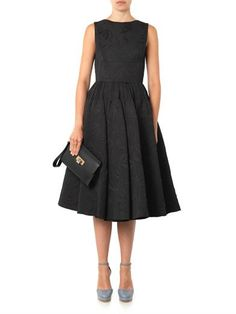 Rochas Bat-jacquard midi-length dress I would put this with a very brightly colored shoe. Love it.
