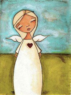 Print  of Diana Duda's original mixed media painting -  Pure of Heart.