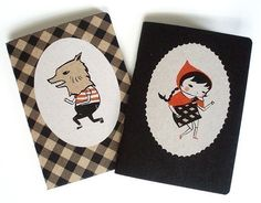 Items similar to Little Red Riding Hood - Little Red and Wolfboy Notebook Two-Pack by Emily Winfield Martin on Etsy Cute Notebooks, Black Apple, Red Riding Hood, Little Red, Little Gifts, Cover Design, Stationery, Stripes, Etsy Shop