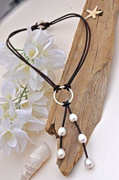 Pearl and Leather Sterling Silver Lariat Necklace - Pearl and Leather Jewelry Collection via Etsy